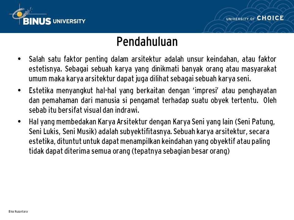 Bina Nusantara Penerapan Estetika pada Facade Sumber Foto : IAI Award 1991, Pameran D4 2008, Majalah Idea, Majalah I-Arch