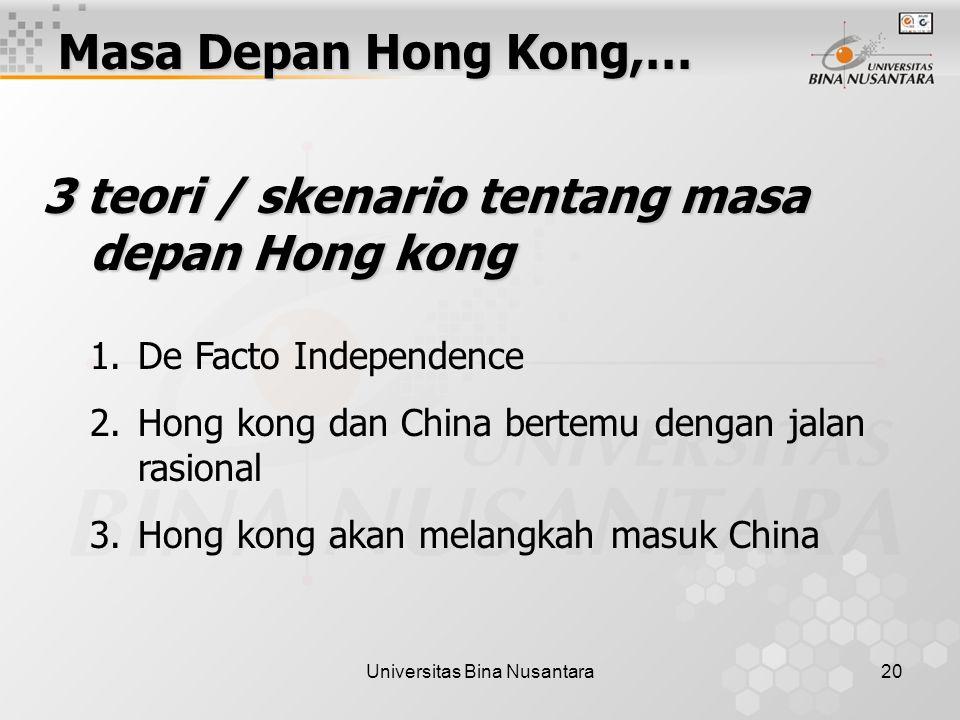 Universitas Bina Nusantara20 Masa Depan Hong Kong,… 3 teori / skenario tentang masa depan Hong kong 1.De Facto Independence 2.Hong kong dan China bertemu dengan jalan rasional 3.Hong kong akan melangkah masuk China