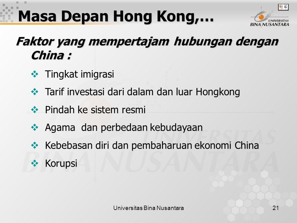 Universitas Bina Nusantara21 Masa Depan Hong Kong,… Faktor yang mempertajam hubungan dengan China :  Tingkat imigrasi  Tarif investasi dari dalam dan luar Hongkong  Pindah ke sistem resmi  Agama dan perbedaan kebudayaan  Kebebasan diri dan pembaharuan ekonomi China  Korupsi