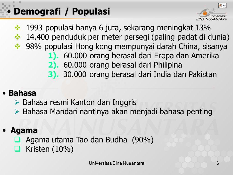 Universitas Bina Nusantara6 Demografi / Populasi  1993 populasi hanya 6 juta, sekarang meningkat 13%  14.400 penduduk per meter persegi (paling padat di dunia)  98% populasi Hong kong mempunyai darah China, sisanya 1).