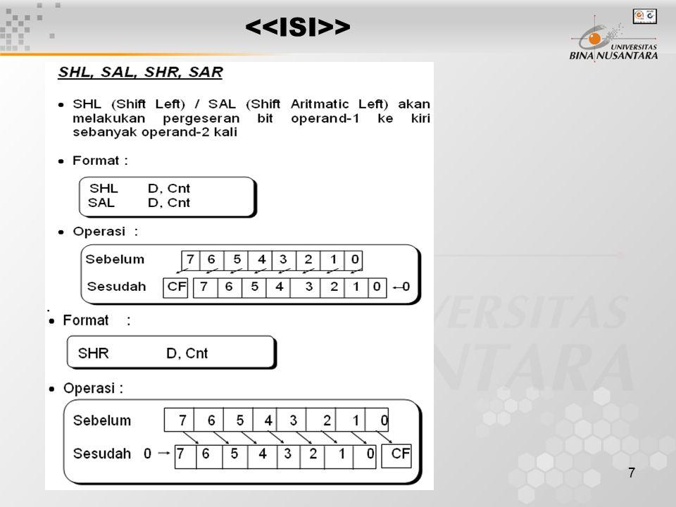 8 SAR akan melakukan pergeseran bit operand- 1 ke kanan secara aritmatik sebanyak operand-2 kali Format : Operasi : Cnt dapat digantikan oleh salah satu register –CX (Cnt > 255) atau CL (1 < Cnt < 255), bila Cnt = 1, maka dapat langsung dituliskan SHL AX, 1