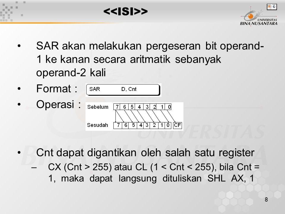 8 SAR akan melakukan pergeseran bit operand- 1 ke kanan secara aritmatik sebanyak operand-2 kali Format : Operasi : Cnt dapat digantikan oleh salah sa