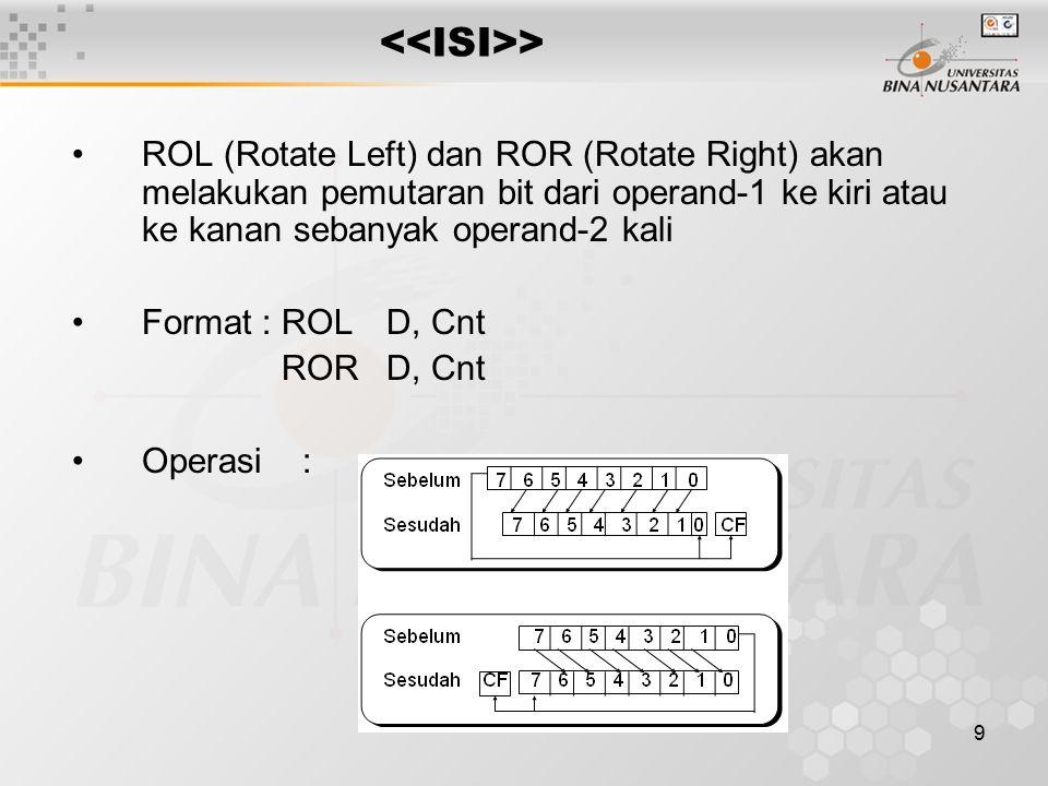 9 > ROL (Rotate Left) dan ROR (Rotate Right) akan melakukan pemutaran bit dari operand-1 ke kiri atau ke kanan sebanyak operand-2 kali Format :ROLD, C