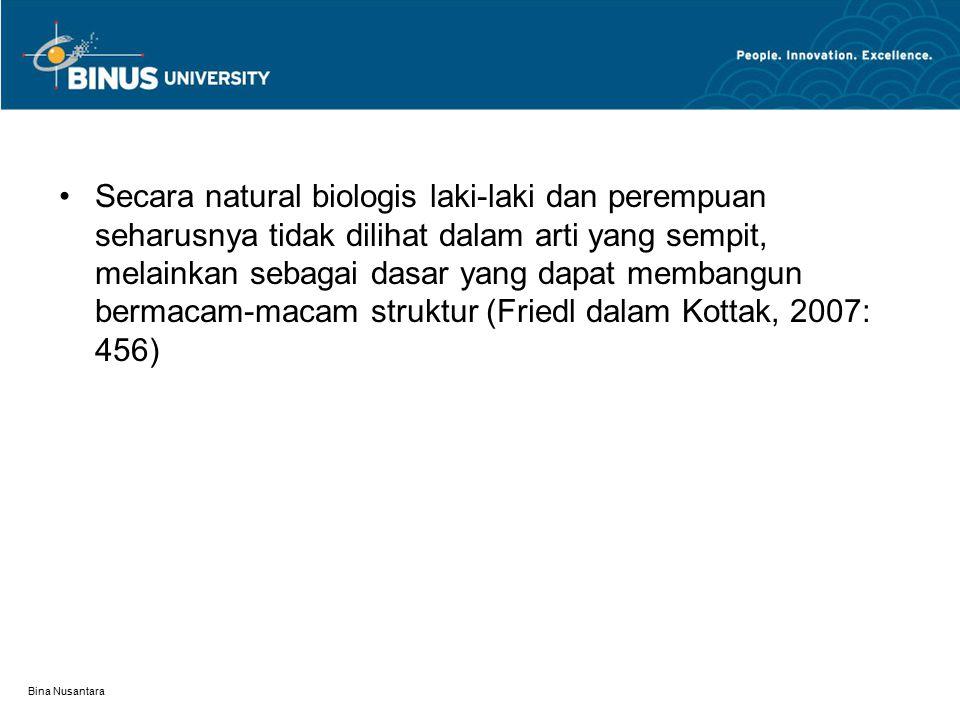 Bina Nusantara Secara natural biologis laki-laki dan perempuan seharusnya tidak dilihat dalam arti yang sempit, melainkan sebagai dasar yang dapat membangun bermacam-macam struktur (Friedl dalam Kottak, 2007: 456)