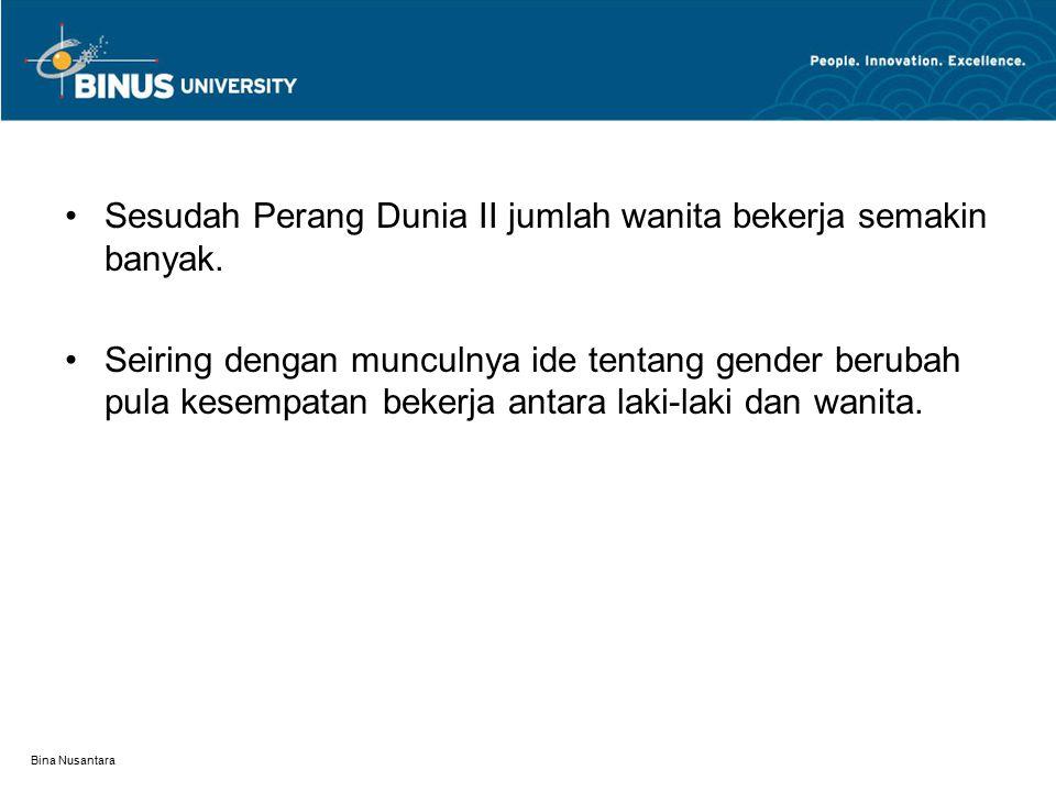 Bina Nusantara Sesudah Perang Dunia II jumlah wanita bekerja semakin banyak.