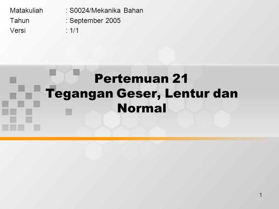 1 Pertemuan 21 Tegangan Geser, Lentur dan Normal Matakuliah: S0024/Mekanika Bahan Tahun: September 2005 Versi: 1/1