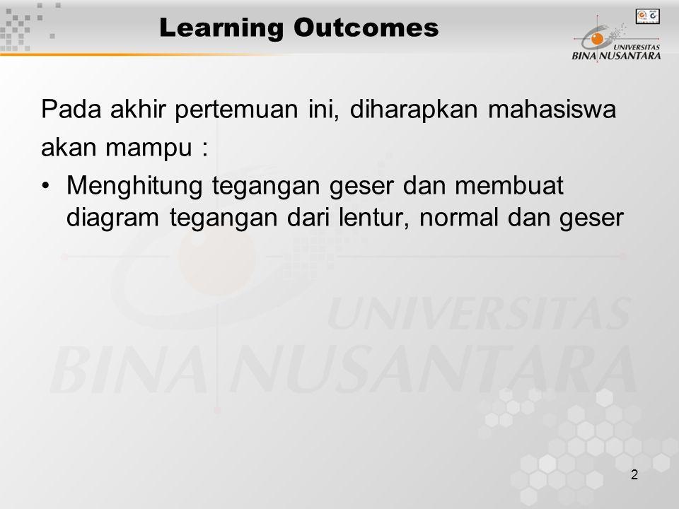 2 Learning Outcomes Pada akhir pertemuan ini, diharapkan mahasiswa akan mampu : Menghitung tegangan geser dan membuat diagram tegangan dari lentur, normal dan geser