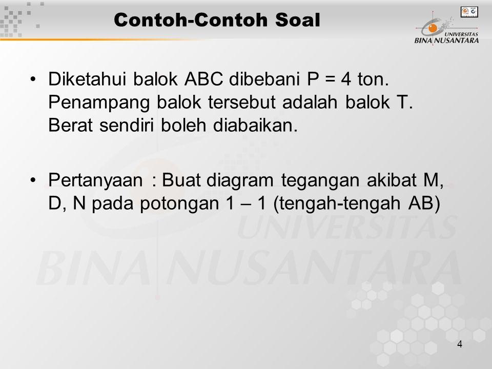 4 Contoh-Contoh Soal Diketahui balok ABC dibebani P = 4 ton.
