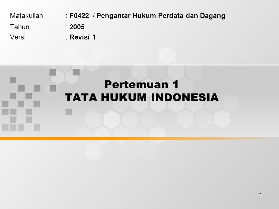 1 Pertemuan 1 TATA HUKUM INDONESIA Matakuliah: F0422 / Pengantar Hukum Perdata dan Dagang Tahun: 2005 Versi: Revisi 1