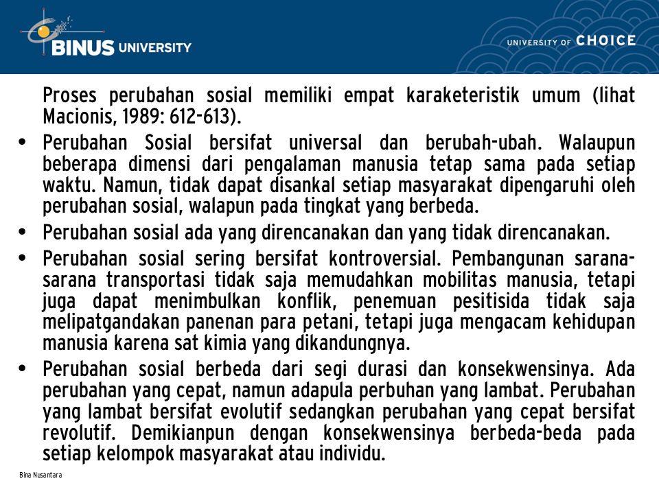 Bina Nusantara 2.Faktor-Faktor yang Mempengaruhi Perubahan Sosial 1.
