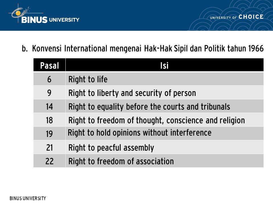 BINUS UNIVERSITY b. Konvensi International mengenai Hak-Hak Sipil dan Politik tahun 1966 PasalIsi 6Right to life 9Right to liberty and security of per