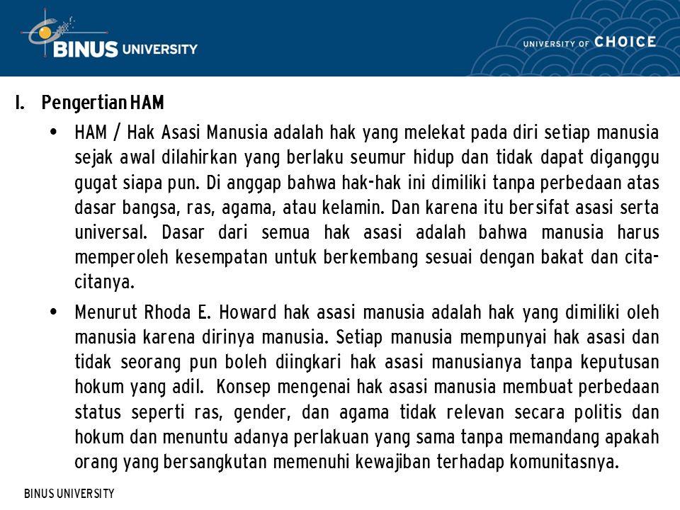 BINUS UNIVERSITY II.Sejarah HAM 2.1.