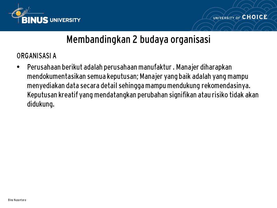 Bina Nusantara Membandingkan 2 budaya organisasi ORGANISASI A Perusahaan berikut adalah perusahaan manufaktur.