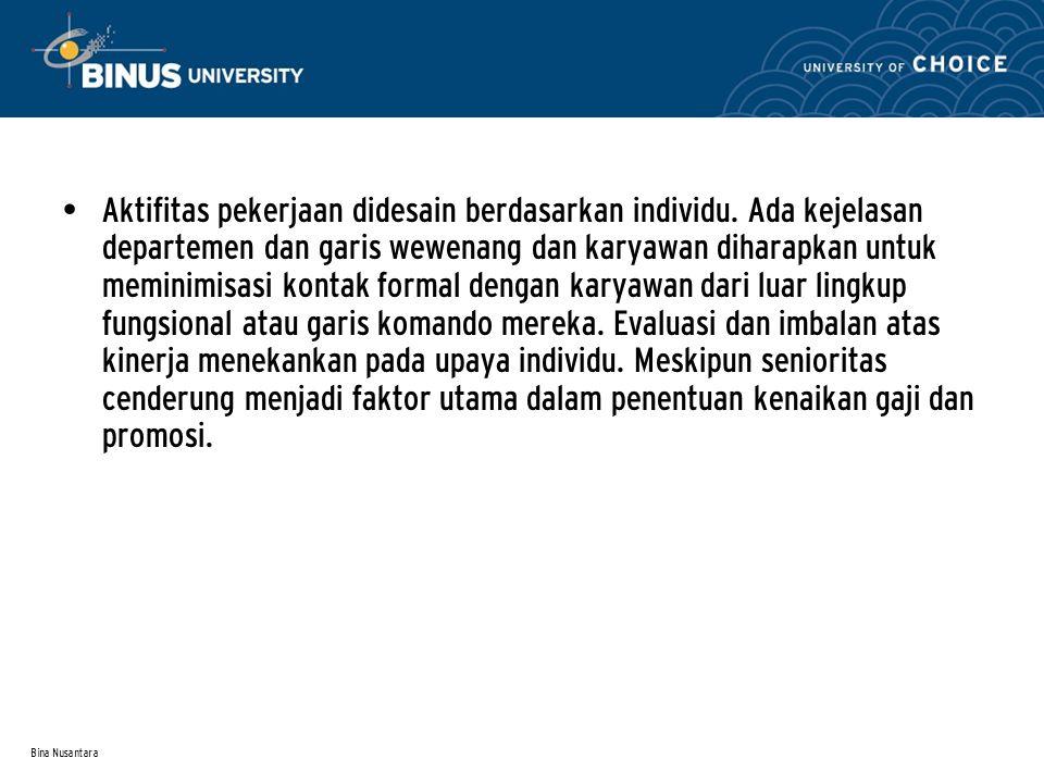 Bina Nusantara Aktifitas pekerjaan didesain berdasarkan individu.