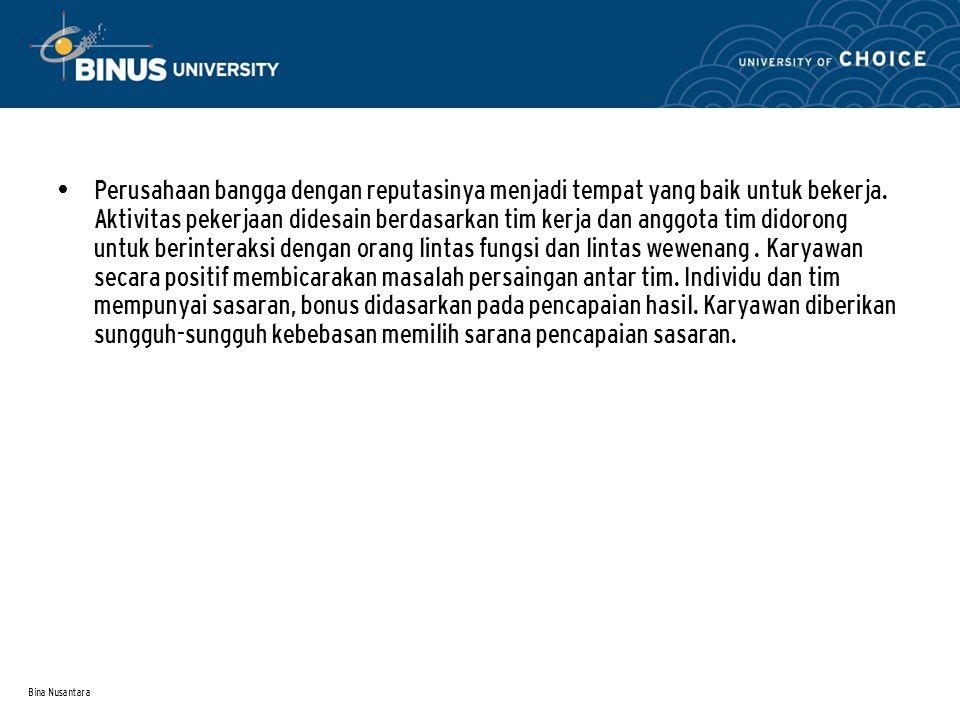 Bina Nusantara Perusahaan bangga dengan reputasinya menjadi tempat yang baik untuk bekerja.