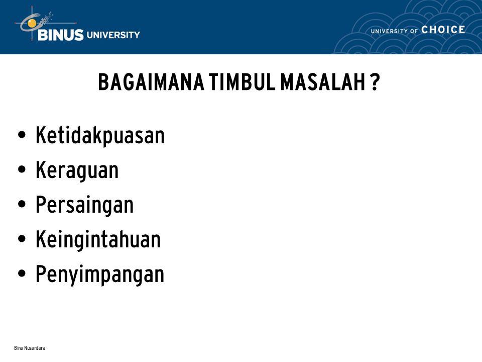 Bina Nusantara RUMUSAN MASALAH YANG BAIK Dapat dicarikan jawabannya (feasible) Jelas Memberi kontribusi (signifikan) Etis