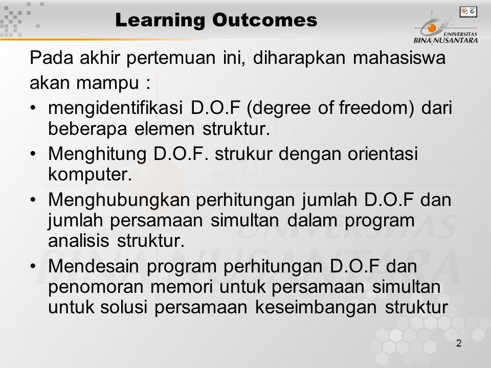 2 Learning Outcomes Pada akhir pertemuan ini, diharapkan mahasiswa akan mampu : mengidentifikasi D.O.F (degree of freedom) dari beberapa elemen strukt