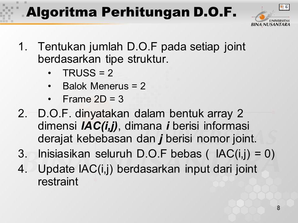 8 Algoritma Perhitungan D.O.F. 1.Tentukan jumlah D.O.F pada setiap joint berdasarkan tipe struktur. TRUSS = 2 Balok Menerus = 2 Frame 2D = 3 2.D.O.F.