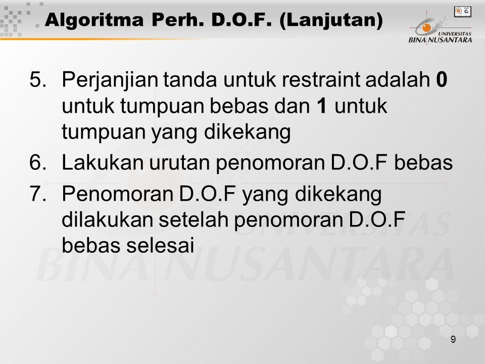 9 Algoritma Perh. D.O.F. (Lanjutan) 5.Perjanjian tanda untuk restraint adalah 0 untuk tumpuan bebas dan 1 untuk tumpuan yang dikekang 6.Lakukan urutan