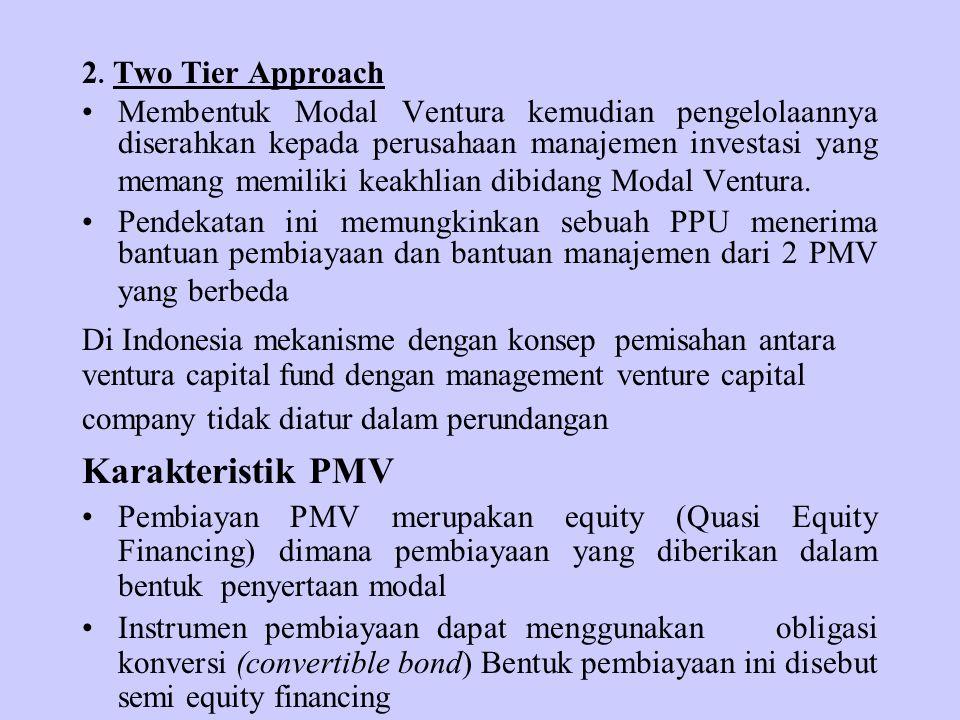 2. Two Tier Approach Membentuk Modal Ventura kemudian pengelolaannya diserahkan kepada perusahaan manajemen investasi yang memang memiliki keakhlian d
