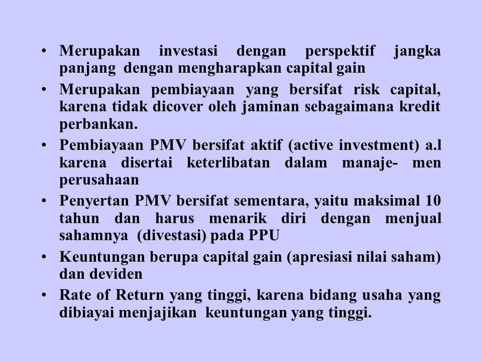 Merupakan investasi dengan perspektif jangka panjang dengan mengharapkan capital gain Merupakan pembiayaan yang bersifat risk capital, karena tidak dicover oleh jaminan sebagaimana kredit perbankan.