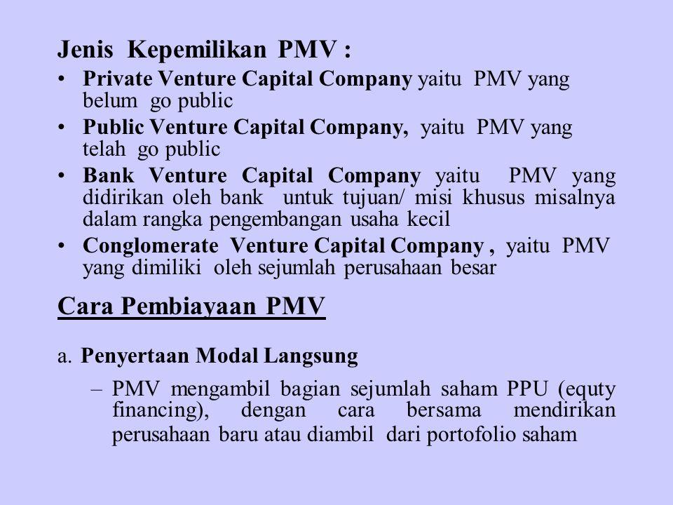 Jenis Kepemilikan PMV : Private Venture Capital Company yaitu PMV yang belum go public Public Venture Capital Company, yaitu PMV yang telah go public Bank Venture Capital Company yaitu PMV yang didirikan oleh bank untuk tujuan/ misi khusus misalnya dalam rangka pengembangan usaha kecil Conglomerate Venture Capital Company, yaitu PMV yang dimiliki oleh sejumlah perusahaan besar Cara Pembiayaan PMV a.