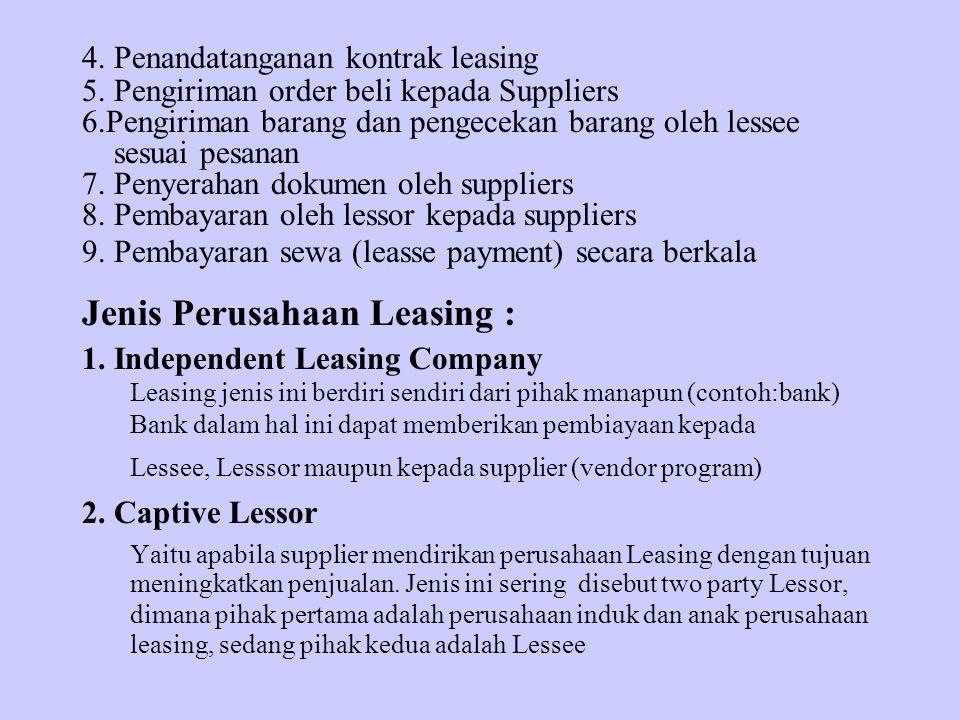 4. Penandatanganan kontrak leasing 5. Pengiriman order beli kepada Suppliers 6.Pengiriman barang dan pengecekan barang oleh lessee sesuai pesanan 7. P