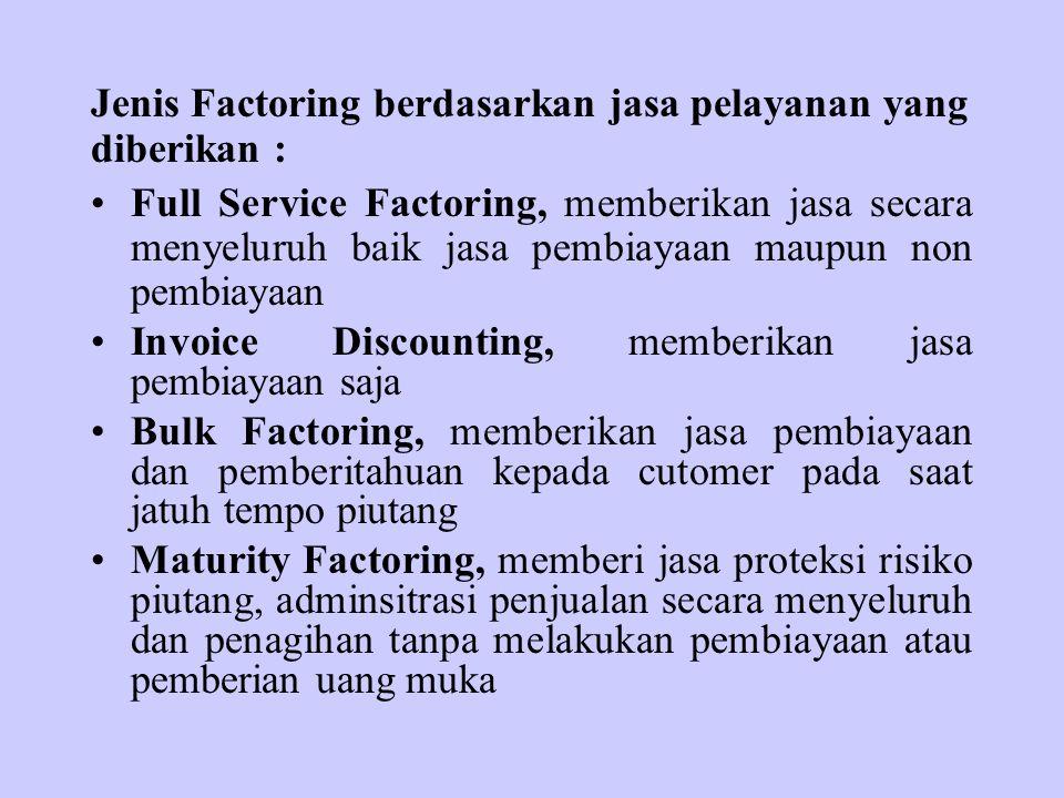 Jenis Factoring berdasarkan jasa pelayanan yang diberikan : Full Service Factoring, memberikan jasa secara menyeluruh baik jasa pembiayaan maupun non