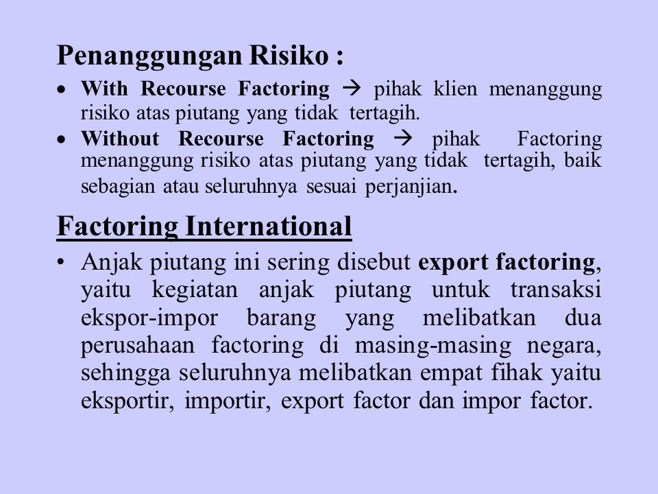 Penanggungan Risiko :  With Recourse Factoring  pihak klien menanggung risiko atas piutang yang tidak tertagih.  Without Recourse Factoring  pihak