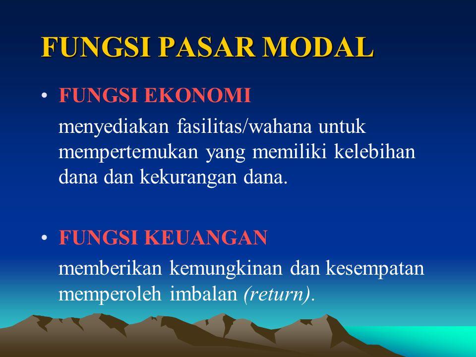 FUNGSI PASAR MODAL FUNGSI EKONOMI menyediakan fasilitas/wahana untuk mempertemukan yang memiliki kelebihan dana dan kekurangan dana.