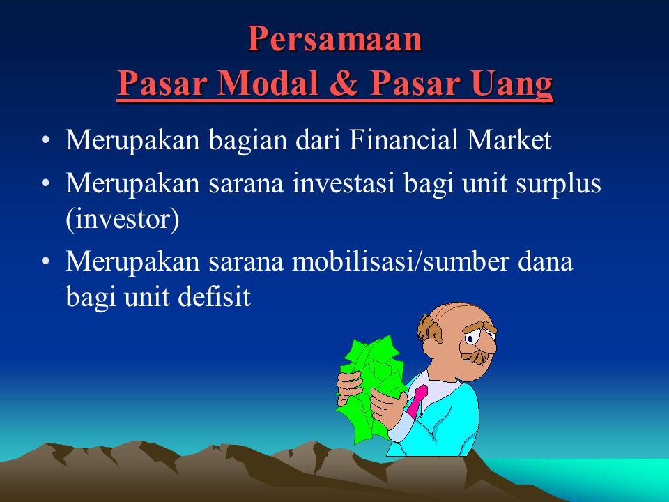 Persamaan Pasar Modal & Pasar Uang Merupakan bagian dari Financial Market Merupakan sarana investasi bagi unit surplus (investor) Merupakan sarana mobilisasi/sumber dana bagi unit defisit