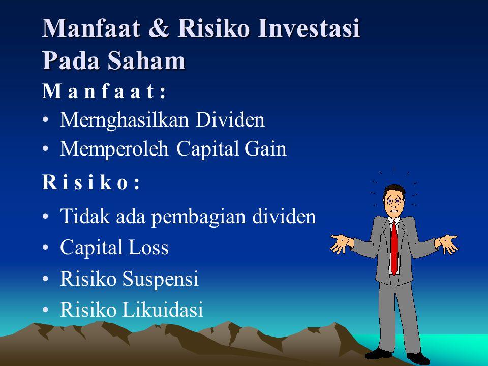 Manfaat & Risiko Investasi Pada Saham M a n f a a t : Mernghasilkan Dividen Memperoleh Capital Gain R i s i k o : Tidak ada pembagian dividen Capital Loss Risiko Suspensi Risiko Likuidasi