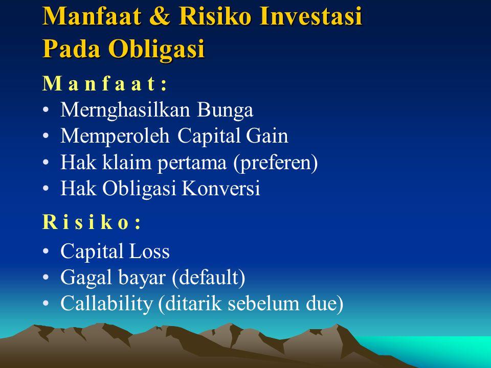 Manfaat & Risiko Investasi Pada Obligasi M a n f a a t : Mernghasilkan Bunga Memperoleh Capital Gain Hak klaim pertama (preferen) Hak Obligasi Konversi R i s i k o : Capital Loss Gagal bayar (default) Callability (ditarik sebelum due)