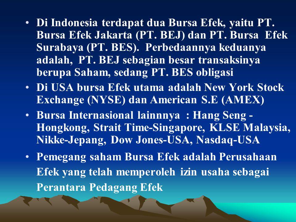 Di Indonesia terdapat dua Bursa Efek, yaitu PT. Bursa Efek Jakarta (PT.