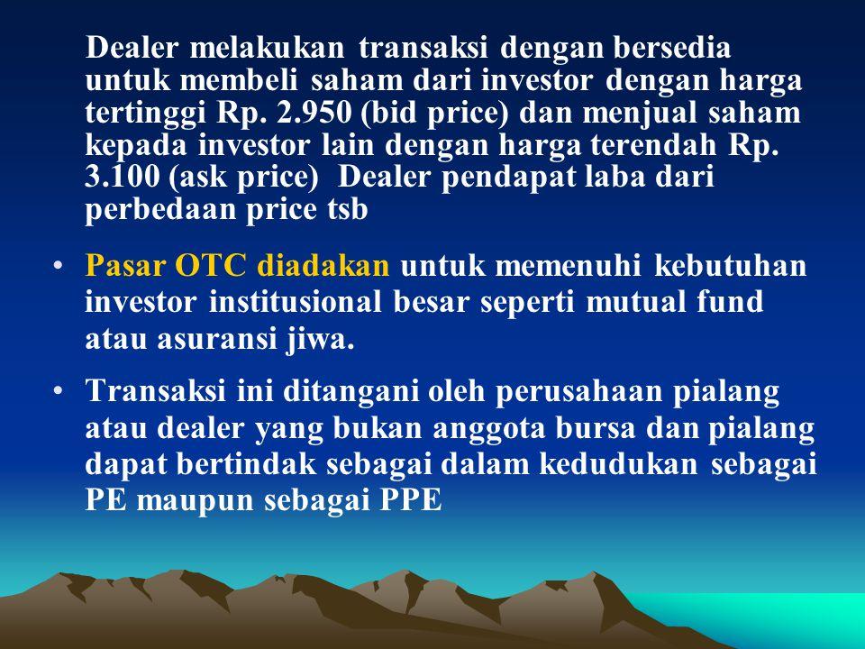 Dealer melakukan transaksi dengan bersedia untuk membeli saham dari investor dengan harga tertinggi Rp.