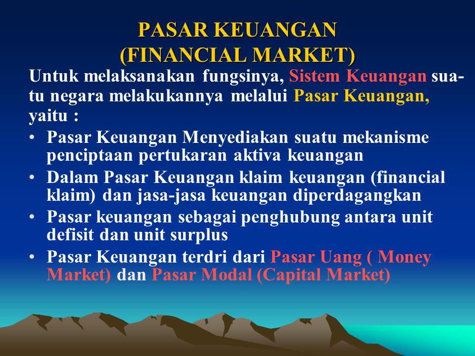 Fungsi Ekonomi Utama Pasar Keuangan : 1.