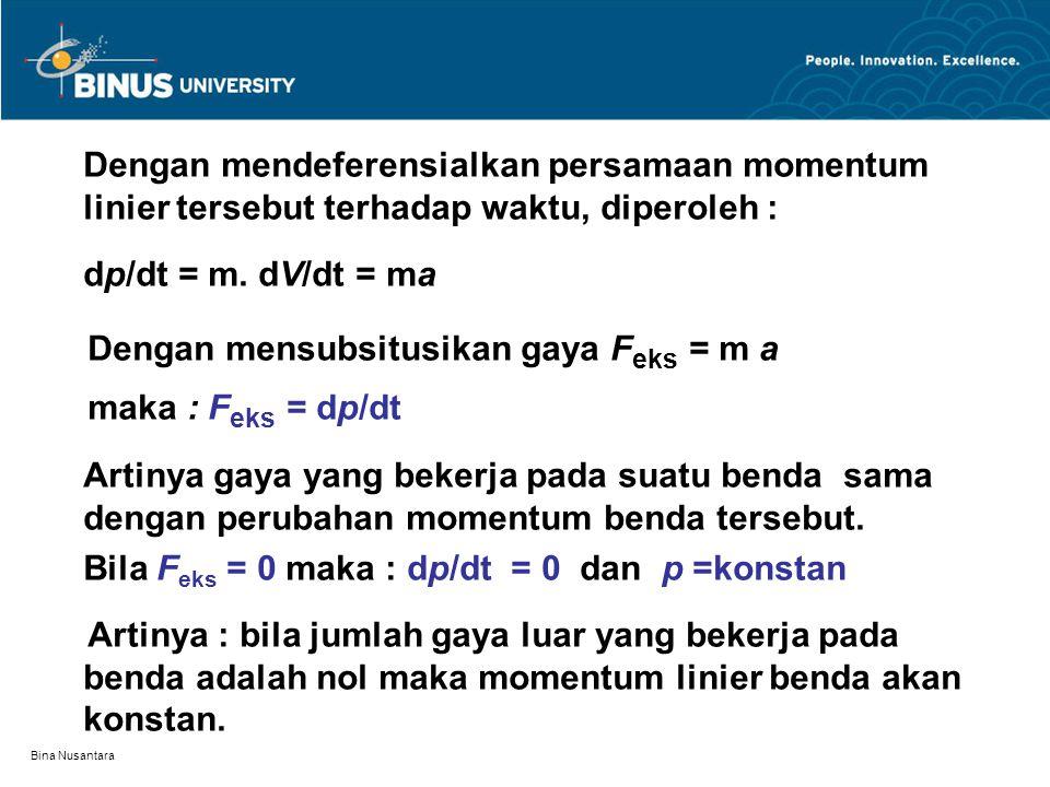 Bina Nusantara Dengan mendeferensialkan persamaan momentum linier tersebut terhadap waktu, diperoleh : dp/dt = m.