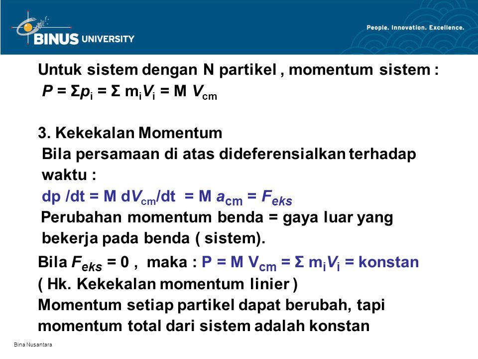 Bina Nusantara Untuk sistem dengan N partikel, momentum sistem : P = Σp i = Σ m i V i = M V cm 3.