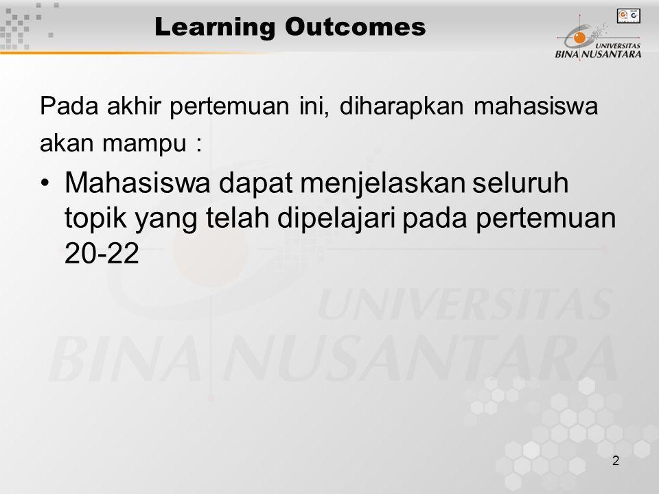 2 Learning Outcomes Pada akhir pertemuan ini, diharapkan mahasiswa akan mampu : Mahasiswa dapat menjelaskan seluruh topik yang telah dipelajari pada p