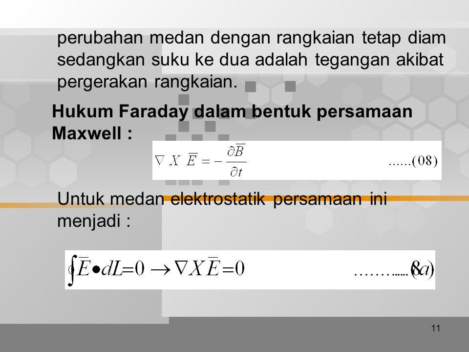 11 perubahan medan dengan rangkaian tetap diam sedangkan suku ke dua adalah tegangan akibat pergerakan rangkaian. Hukum Faraday dalam bentuk persamaan