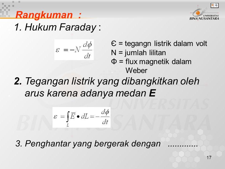 17 Rangkuman :. 1. Hukum Faraday : 2. Tegangan listrik yang dibangkitkan oleh. arus karena adanya medan E 3. Penghantar yang bergerak dengan..........