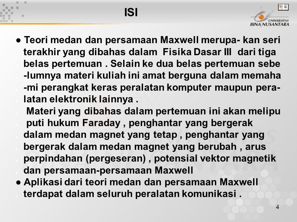 4 ISI ● Teori medan dan persamaan Maxwell merupa- kan seri. terakhir yang dibahas dalam Fisika Dasar III dari tiga. belas pertemuan. Selain ke dua bel