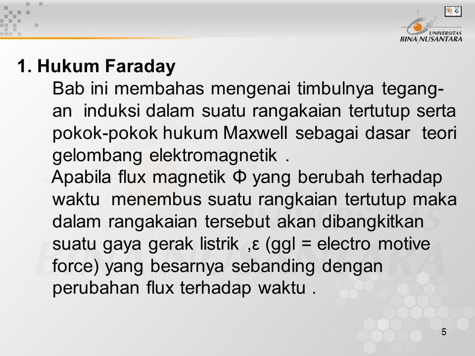 5 1. Hukum Faraday Bab ini membahas mengenai timbulnya tegang- an induksi dalam suatu rangakaian tertutup serta pokok-pokok hukum Maxwell sebagai dasa