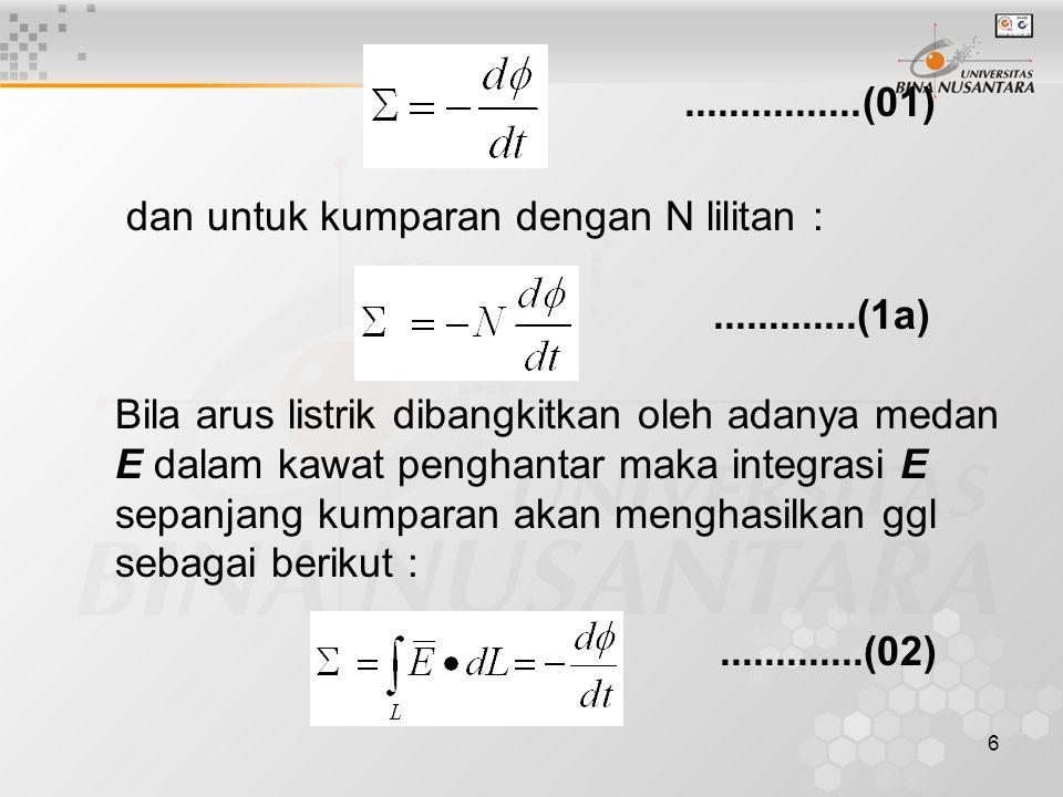 6 dan untuk kumparan dengan N lilitan : Bila arus listrik dibangkitkan oleh adanya medan E dalam kawat penghantar maka integrasi E sepanjang kumparan