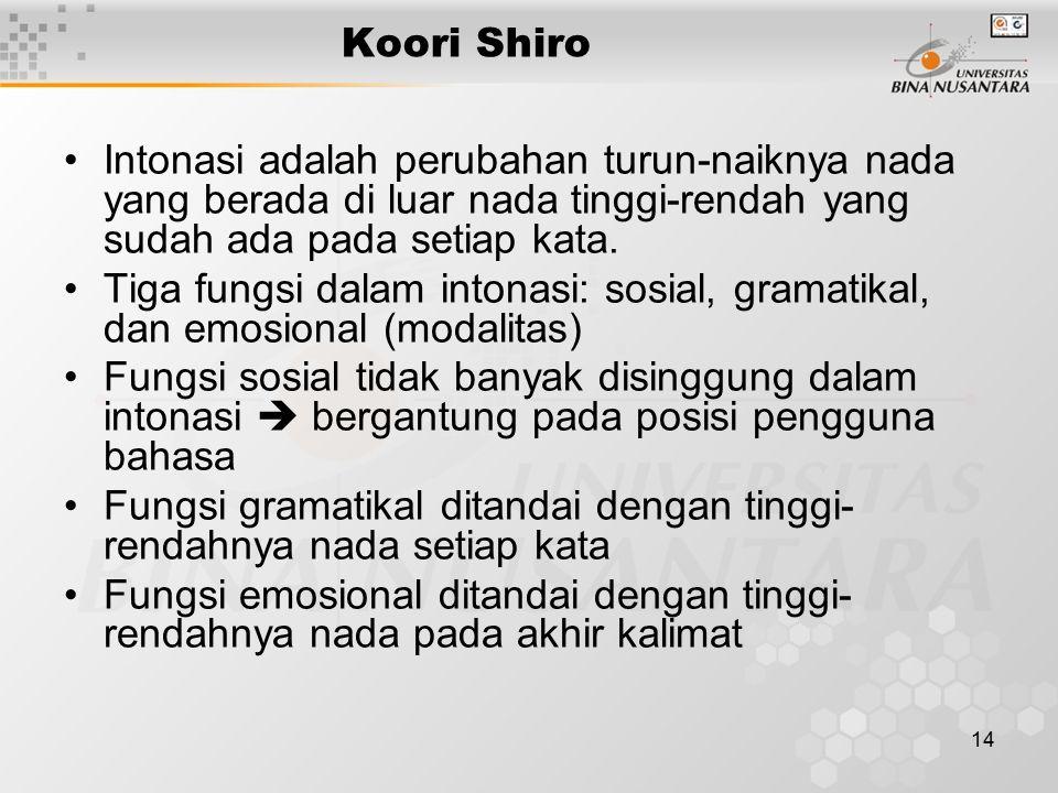 14 Koori Shiro Intonasi adalah perubahan turun-naiknya nada yang berada di luar nada tinggi-rendah yang sudah ada pada setiap kata. Tiga fungsi dalam