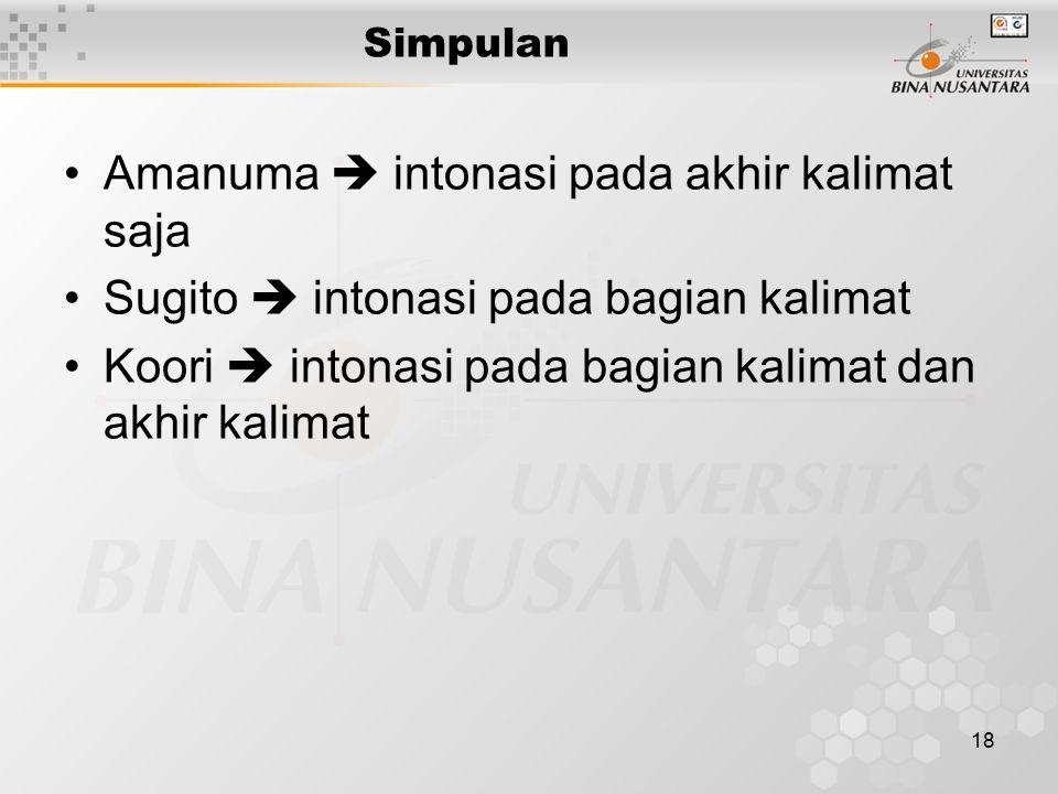 18 Simpulan Amanuma  intonasi pada akhir kalimat saja Sugito  intonasi pada bagian kalimat Koori  intonasi pada bagian kalimat dan akhir kalimat