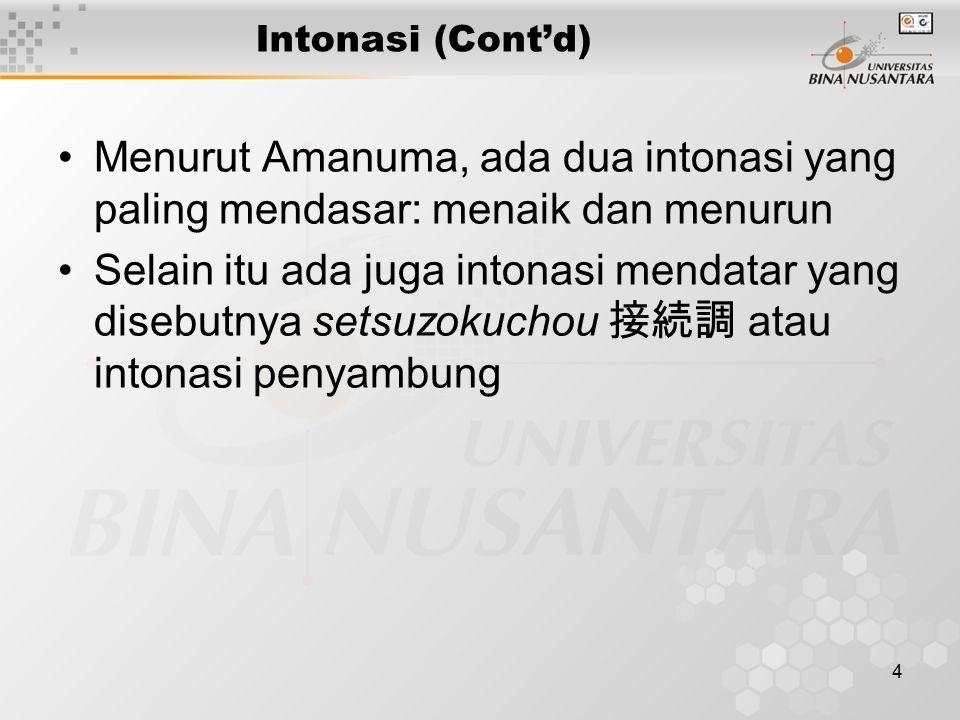 4 Intonasi (Cont'd) Menurut Amanuma, ada dua intonasi yang paling mendasar: menaik dan menurun Selain itu ada juga intonasi mendatar yang disebutnya setsuzokuchou 接続調 atau intonasi penyambung