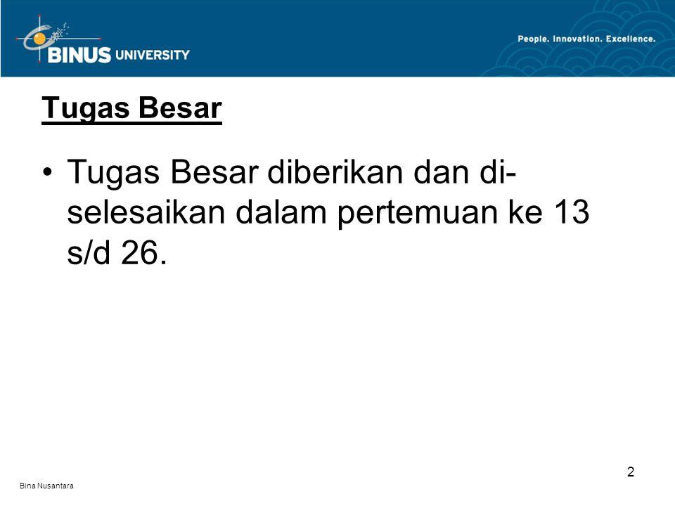 Bina Nusantara 2 Tugas Besar Tugas Besar diberikan dan di- selesaikan dalam pertemuan ke 13 s/d 26.
