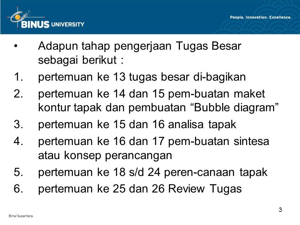 Bina Nusantara 3 Adapun tahap pengerjaan Tugas Besar sebagai berikut : 1.pertemuan ke 13 tugas besar di-bagikan 2.pertemuan ke 14 dan 15 pem-buatan maket kontur tapak dan pembuatan Bubble diagram 3.pertemuan ke 15 dan 16 analisa tapak 4.pertemuan ke 16 dan 17 pem-buatan sintesa atau konsep perancangan 5.pertemuan ke 18 s/d 24 peren-canaan tapak 6.pertemuan ke 25 dan 26 Review Tugas