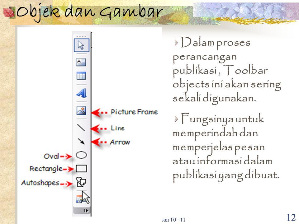 Pokok bahasan 10 - 11 12 Objek dan Gambar Dalam proses perancangan publikasi, Toolbar objects ini akan sering sekali digunakan. Fungsinya untuk memper